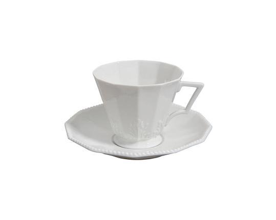 Чашка кофейная с блюдцем Perl Weiss 130 мл производства Nymphenburg купить в онлайн магазине beau-vivant.com