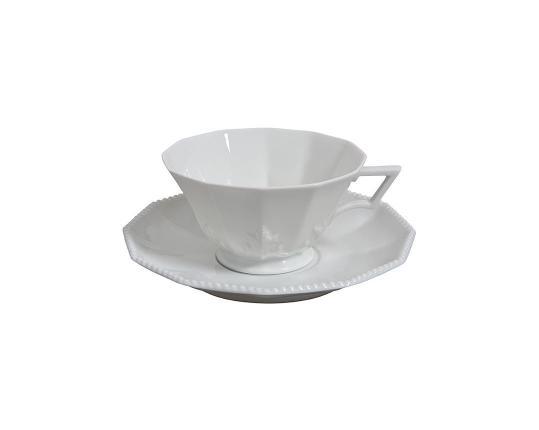 Чашка чайная с блюдцем Perl Weiss 160 мл  производства Nymphenburg купить в онлайн магазине beau-vivant.com