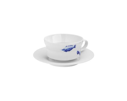 Чашка чайная с блюдцем Ocean 250 мл (спинорог) производства Hering Berlin купить в онлайн магазине beau-vivant.com