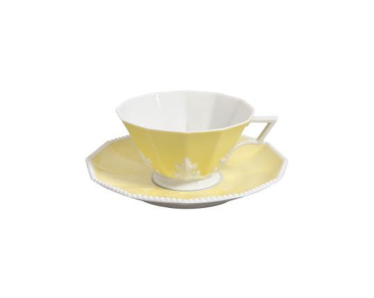Чашка чайная с блюдцем Perl Symphonie Gelb 160 мл производства Nymphenburg купить в онлайн магазине beau-vivant.com