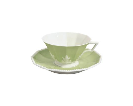 Чашка чайная с блюдцем Perl Symphonie Grün 160 мл производства Nymphenburg купить в онлайн магазине beau-vivant.com