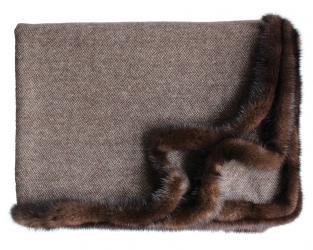 Кашемировый плед Bellagio с меховым бордюром (шоколадно-коричневый)