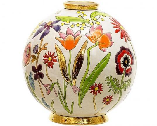 Шарообразная ваза Bucolique 26 см  производства Emaux de Longwy купить в онлайн магазине beau-vivant.com