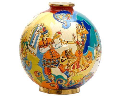 Шарообразная ваза Danse magique 38 см производства Emaux de Longwy купить в онлайн магазине beau-vivant.com