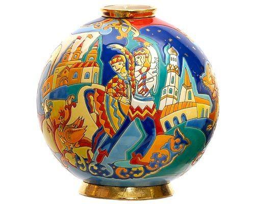 Шарообразная ваза Danse magique 26 см производства Emaux de Longwy купить в онлайн магазине beau-vivant.com