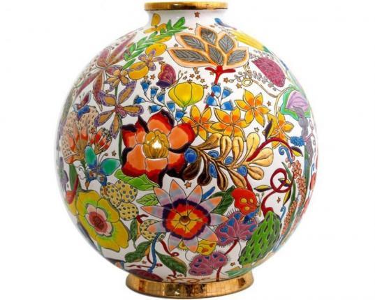 Шарообразная ваза Flora Coloniale 38 см производства Emaux de Longwy купить в онлайн магазине beau-vivant.com