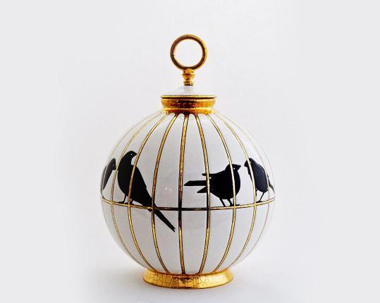 Шарообразная ваза Les Inséparables 26 см производства Emaux de Longwy купить в онлайн магазине beau-vivant.com