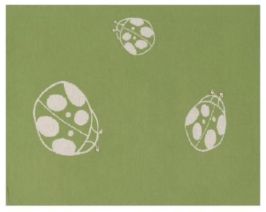 Шерстяной зелёный детский плед с божьей коровкой Marie производства Eagle Products купить в онлайн магазине beau-vivant.com