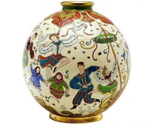 Шарообразная ваза Петрушка 38 см производства Emaux de Longwy купить в онлайн магазине beau-vivant.com