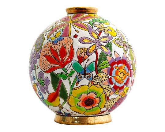Шарообразная ваза Flora 16 см  производства Emaux de Longwy купить в онлайн магазине beau-vivant.com