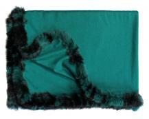 Кашемировый плед Versailles с меховым бордюром (хвойно-зелёный)