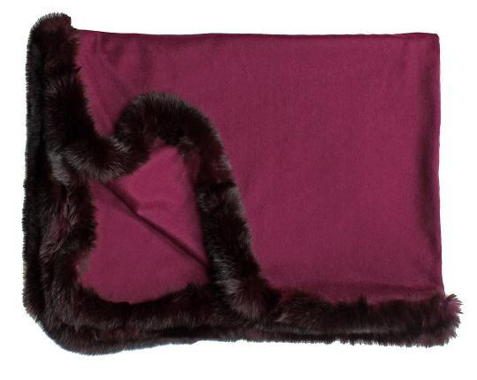 Кашемировый плед Versailles с меховым бордюром (гранатовый) производства Eagle Products купить в онлайн магазине beau-vivant.com