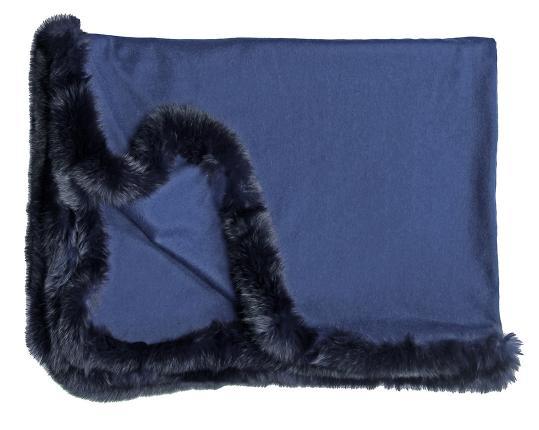 Кашемировый плед Versailles с меховым бордюром (синий) производства Eagle Products купить в онлайн магазине beau-vivant.com