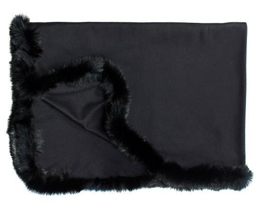 Кашемировый плед Versailles с меховым бордюром (чёрный ) производства Eagle Products купить в онлайн магазине beau-vivant.com
