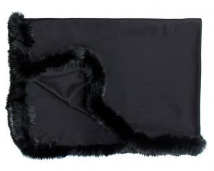 Кашемировый плед Versailles с меховым бордюром (чёрный )