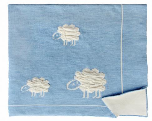 Шерстяной голубой детский плед Wolly