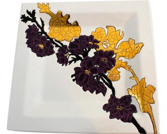 Шарообразная ваза A l'ombre des fleurs 38 см  производства Emaux de Longwy купить в онлайн магазине beau-vivant.com