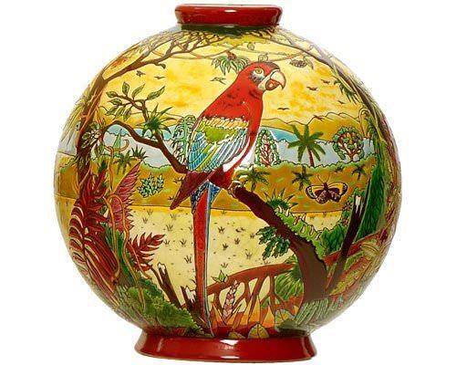 Шарообразная ваза Oiseaux d'Amérique 38 см производства Emaux de Longwy купить в онлайн магазине beau-vivant.com
