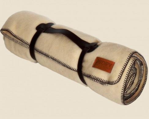 Плед из шерсти с отделочной строчкой (бежевый)